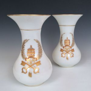 PAIR OF ANTIQUE OPALINE GLASS VASES WITH PAPAL SYMBOLS