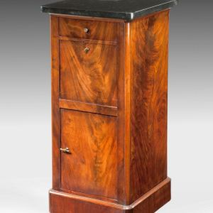 ANTIQUE MAHOGANY PEDESTAL CUPBOARD WITH MARBLE TOP