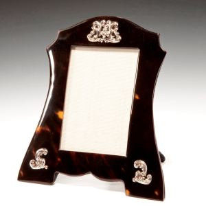 ANTIQUE SILVER & TORTOISESHELL PHOTOGRAPH FRAME