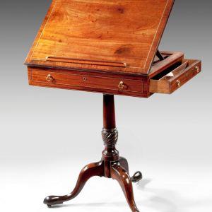 ANTIQUE GEORGE III MAHOGANY ADJUSTABLE READING TABLE