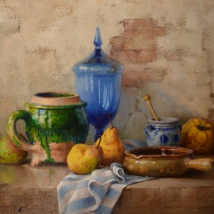 ROBERT CHAILLOUX-OIL PAINTING-STILL LIFE BLUE VASE
