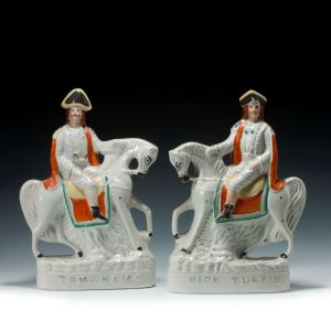 PAIR ANTIQUE STAFFORDSHIRE FIGURES OF DICK TURPIN AND TOM KING