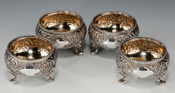FOUR ANTIQUE MAPPIN AND WEBB SILVER SALT CELLARS