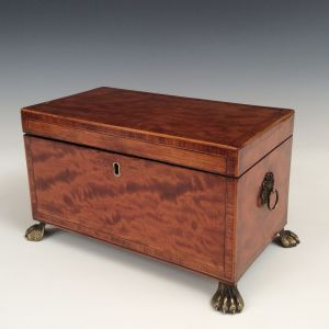 ANTIQUE RECTANGULAR SATINWOOD TEA CADDY