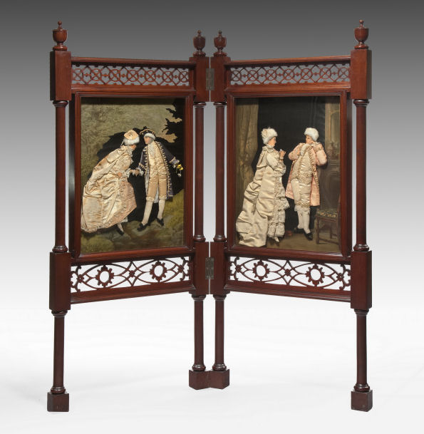 ANTIQUE MAHOGANY TWO FOLD SCREEN WITH EMBROIDERED FIGURES