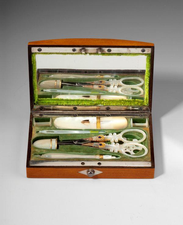 ANTIQUE PALAIS ROYAL SATINWOOD SEWING BOX