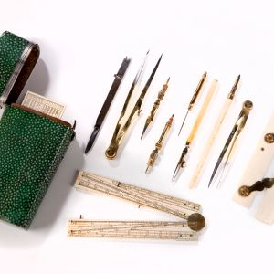 ANTIQUE SHAGREEN POCKET DRAWING SET BENJAMIN MESSER