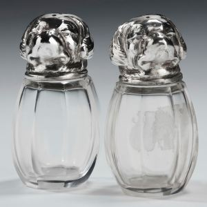 PAIR ANTIQUE SILVER AND GLASS DOG PEPPER POTS