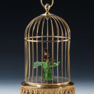 ANTIQUE SINGING BIRD IN A CAGE BY KEN D COMPANY