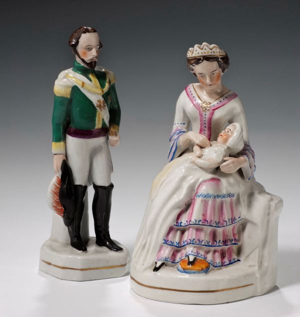 ANTIQUE STAFFORDSHIRE FIGURES OF NAPOLEON III EUGENIE PRINCE IMPERIAL