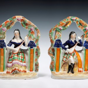 ANTIQUE PAIR OF STAFFORDSHIRE FIGURES OF MUSICIANS