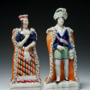 ANTIQUE STAFFORDSHIRE FIGURES OF HAMLET AND LADY MACBETH