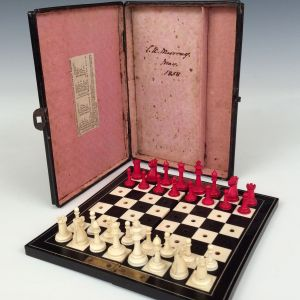 ANTIQUE MINIATURE IVORY STAUNTON CHESS SET