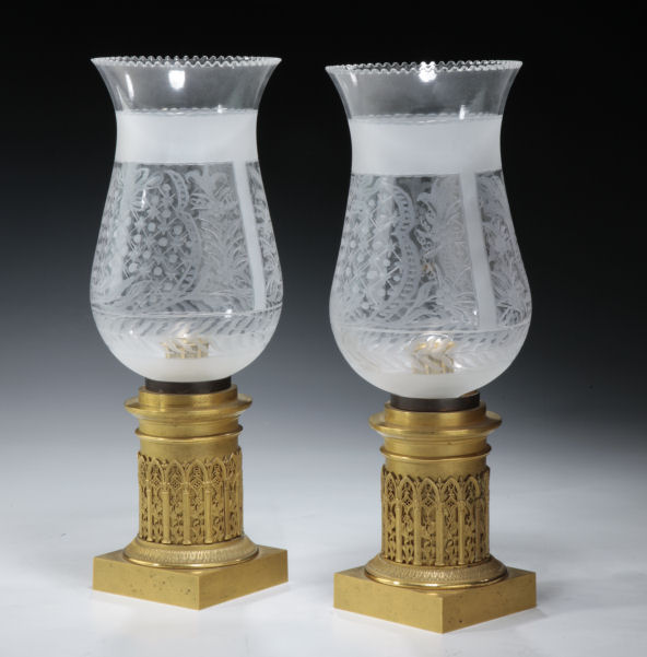 ANTIQUE PAIR OF FRENCH GOTHIC REVIVAL ORMOLU STORM LANTERNS