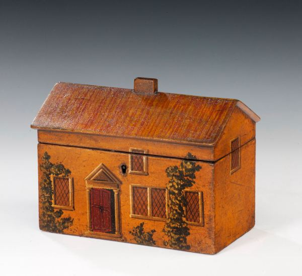 ANTIQUE PAINTED HOUSE TEA CADDY