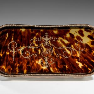 ANTIQUE SILVER AND TORTOISESHELL TRAY