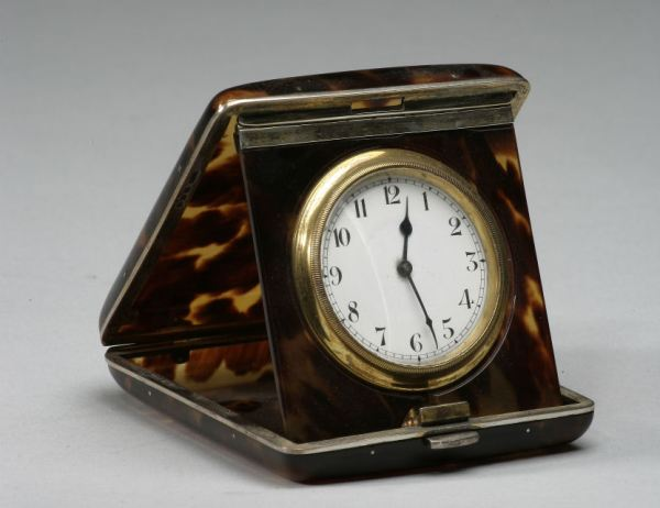ANTIQUE TORTOISESHELL AND SILVER TRAVEL CLOCK