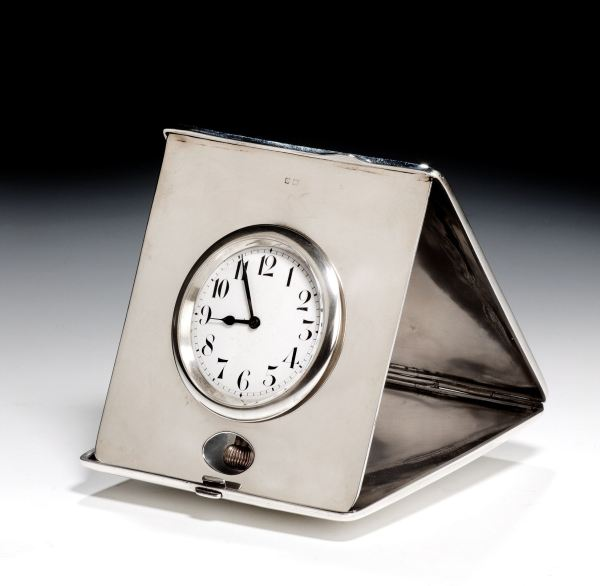ANTIQUE TRAVELLING SOLID SILVER CLOCK