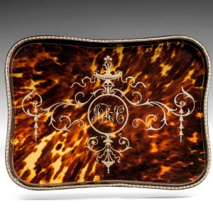 ANTIQUE LARGE SILVER AND TORTOISESHELL TRAY