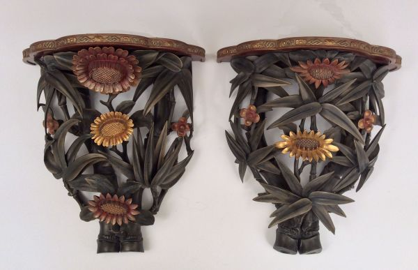 PAIR OF ANTIQUE CHINESE CARVED WOOD WALL BRACKETS