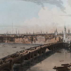 WILLIAM DANIELL AQUATINT LONDON BRIDGE RIVER