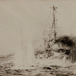 WILLIAM LIONEL WYLLIE - ETCHING - HMS CHESTER