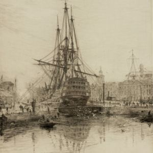 WILLIAM LIONEL WYLLIE-ETCHING-CROSSING THE MAINYARD