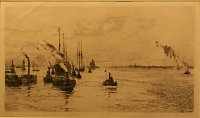 WILLIAM LIONEL WYLLIE-ETCHING-HUDSON RIVER NEW YORK