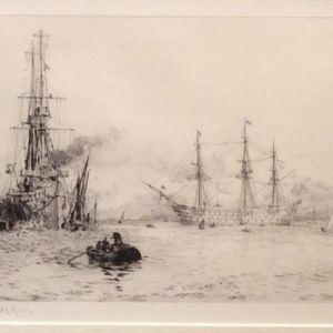 WILLIAM LIONEL WYLLIE - ETCHING - HMS INVINCIBLE AND HMS VICTORY PORTSMOUTH