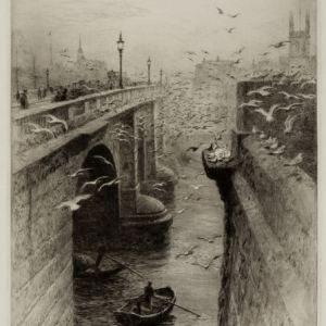 WILLIAM LIONEL WYLLIE-ETCHING-LONDON BRIDGE