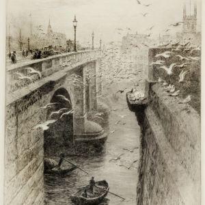 WILLIAM LIONEL WYLLIE-LONDON BRIDGE SOUTHWARK CATHEDRAL