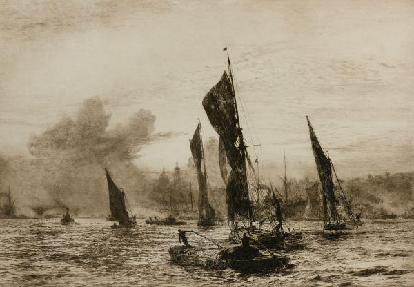 WILLIAM LIONEL WYLLIE - ETCHING - LONDON RIVER 1900