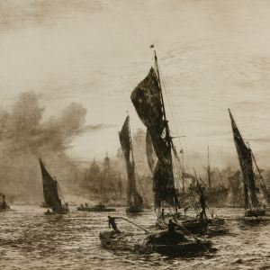 WILLIAM LIONEL WYLLIE - ETCHING - LONDON RIVER 1900