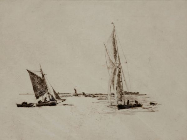 WILLIAM LIONEL WYLLIE-ETCHING-MEDWAY FISHING BOATS