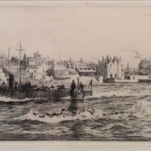 WILLIAM LIONEL WYLLIE-ETCHING-SUBMARINE PORTSMOUTH HARBOUR