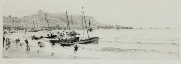 WILLIAM LIONEL WYLLIE-ETCHING-SCARBOROUGH BAY YORKSHIRE