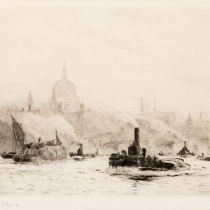 WILLIAM LIONEL WYLLIE - ETCHING - ST PAULS LONDON