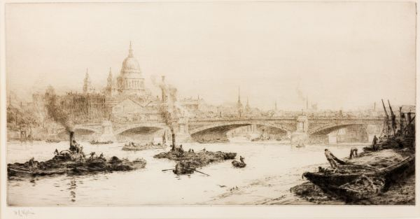WILLIAM LIONEL WYLLIE-ETCHING-RIVER THAMES WITH ST PAULS