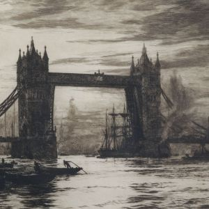 WILLIAM LIONEL WYLLIE-ETCHING-TOWER BRIDGE LONDON