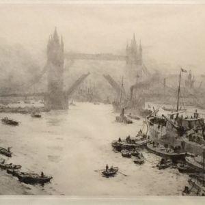 WILLIAM LIONEL WYLLIE-ETCHING-THE TOWER BRIDGE LONDON