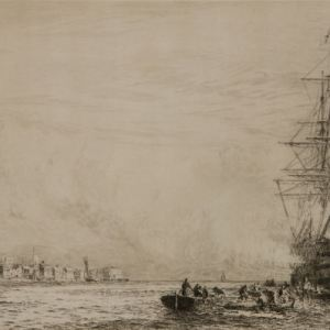 WILLIAM LIONEL WYLLIE-ETCHING-VICTORY FIRING SALUTE PORTSMOUTH