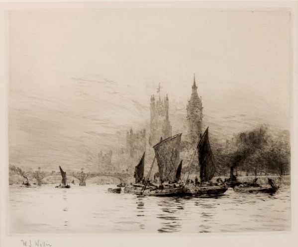 WILLIAM LIONEL WYLLIE - ETCHING - WESTMINSTER