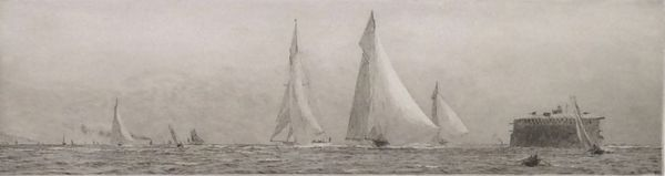 WILLIAM LIONEL WYLLIE-ETCHING-YACHTING SOLENT NO MANS LAND FORT