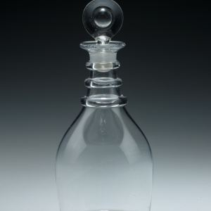 ANTIQUE TRIPLE RING GLASS WINE DECANTER