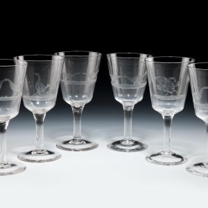 SIX ANTIQUE WINE GLASSES ENGRAVED WITH COCK FIGHTING