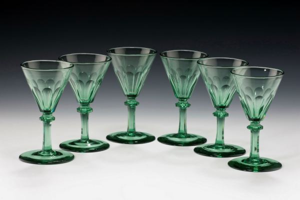 ANTIQUE SET OF SIX GREEN WINE GLASSES