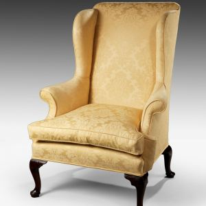 ANTIQUE GEORGE II WALNUT WING ARMCHAIR ON CABRIOLE LEGS