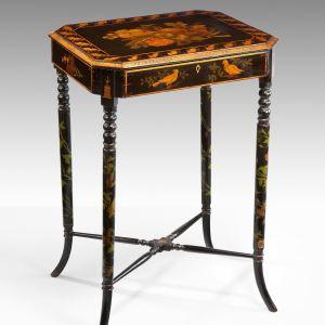 ANTIQUE REGENCY EBONISED PENWORK & DECORATED WORK TABLE