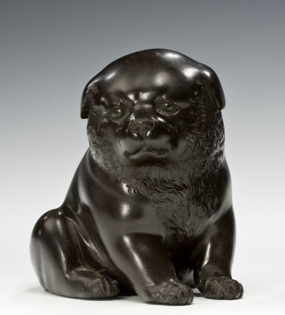 JAPANESE BRONZE MODEL OF A PUPPY