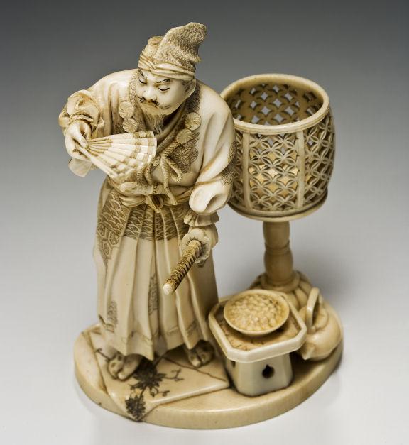 JAPANESE IVORY OKIMONO SAMURAI